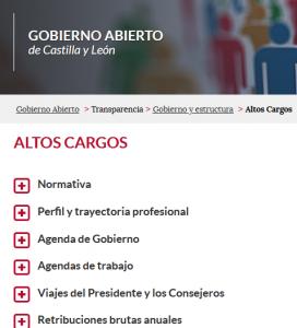 Detalle del portal de transparencia, con información de altos cargos